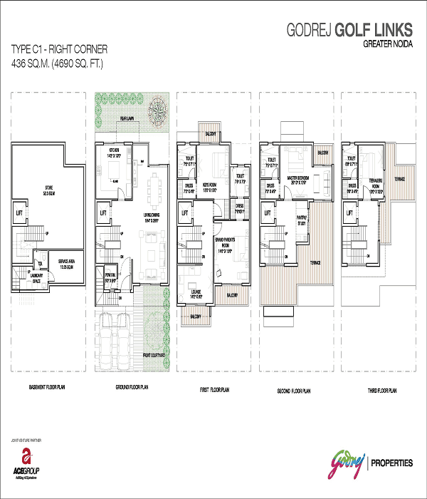 godrej golf links right corner floor plan 4690 sq.ft