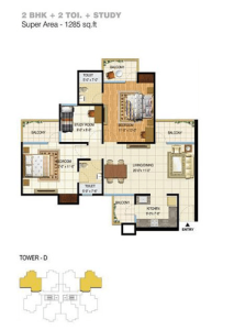 pigeon spring meadows floor plan 2bhk 2toilet 1285 sq.ft