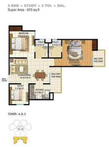 pigeon spring meadows floor plan 2bhk 2toilet 970 sq.ft