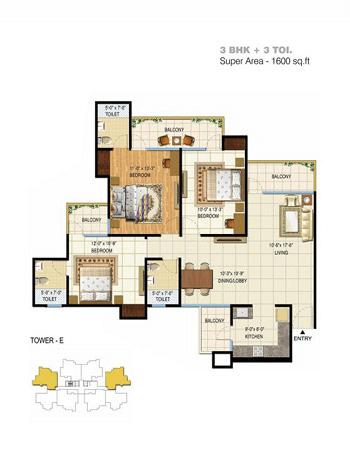 pigeon spring meadows floor plan 3bhk 3toilet 1600 sq.ft