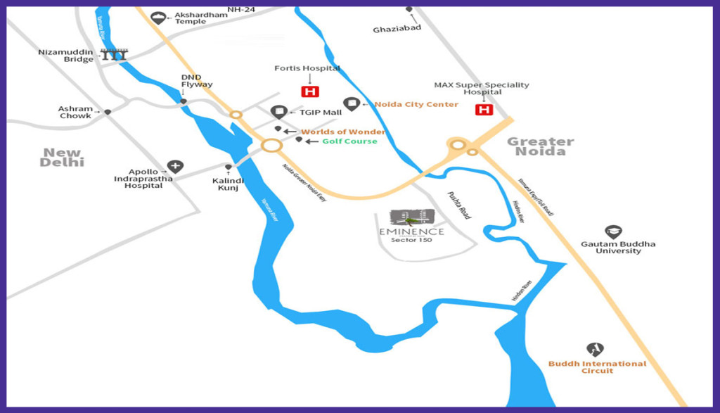 Saha Eminence Location-Map