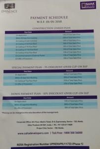 Saha Eminence payment plan